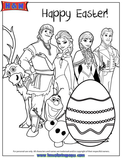 Coloring Frozen All by All Frozen Characters Say Happy Easter Coloring Page H
