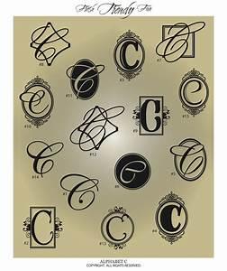 fancy monogram letter quot cquot vinyl wall decal sticker With vinyl alphabet letter stickers