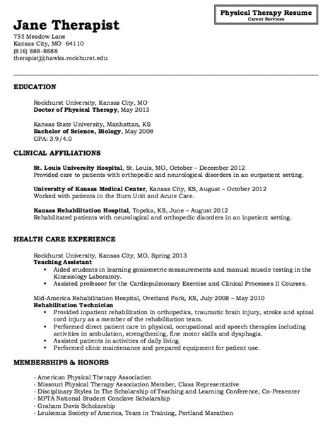 Resume Exles For Physical Therapist by Tips Physical Therapist Sle Resume Recentresumes