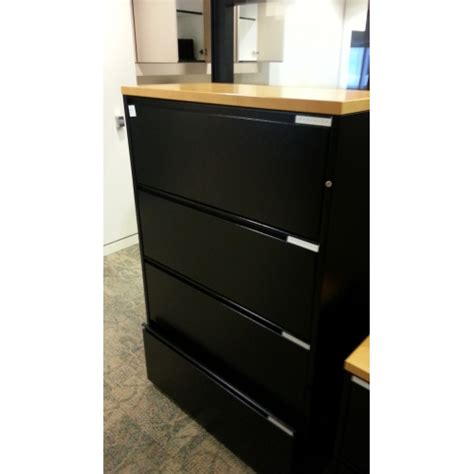 meridian black 4 drawer lateral file cabinet with wood top