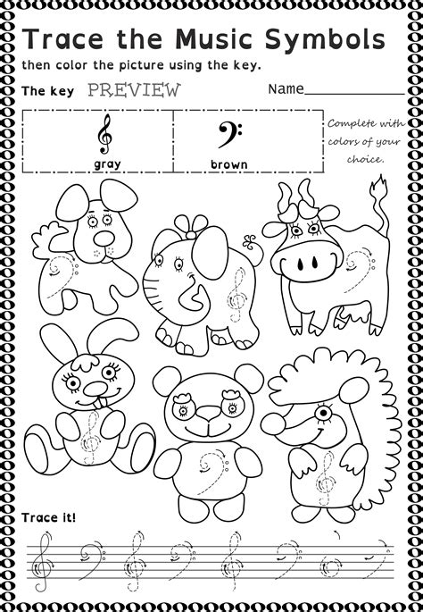 symbols trace  color worksheets  beginners