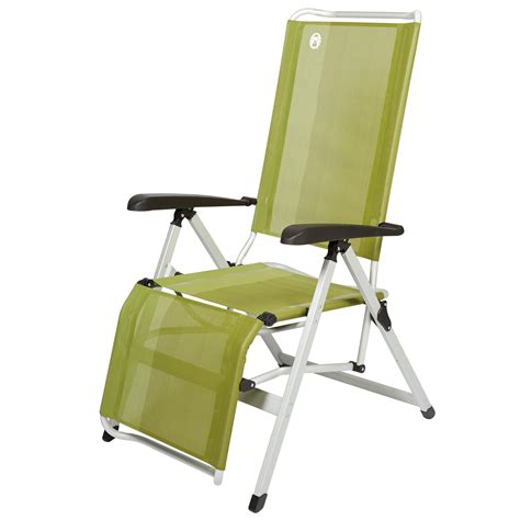 aluminium reclining folding chair with footrest coleman recliner with foot rest green ebay