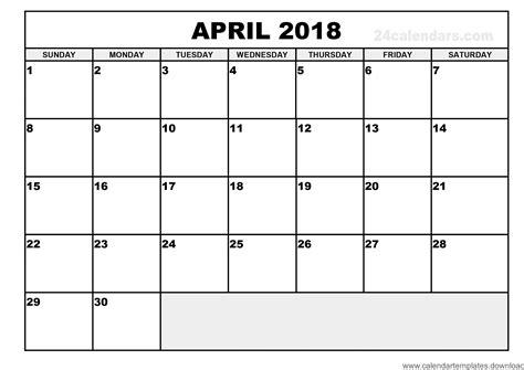 Free Calendar Template 2018 by Printable Calendar April 2018 Template Free