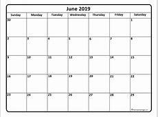 June 2019 calendar * June 2019 calendar printable