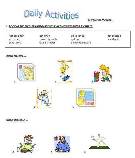 daily activities worksheet