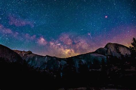 People Sky Stars Milky Way Galaxy Night Mountains