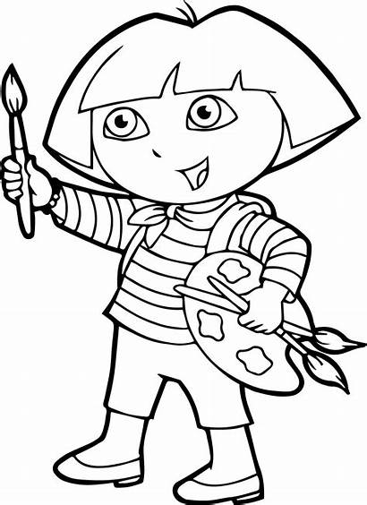 Coloring Dora Painting Pages Paint Cartoon Wecoloringpage