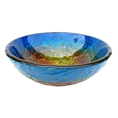 Shop Eden Bath Blue Glass Vessel Round Bathroom Sink At