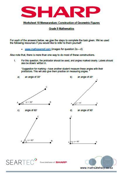 worksheet 10 construction of geometric figures maths