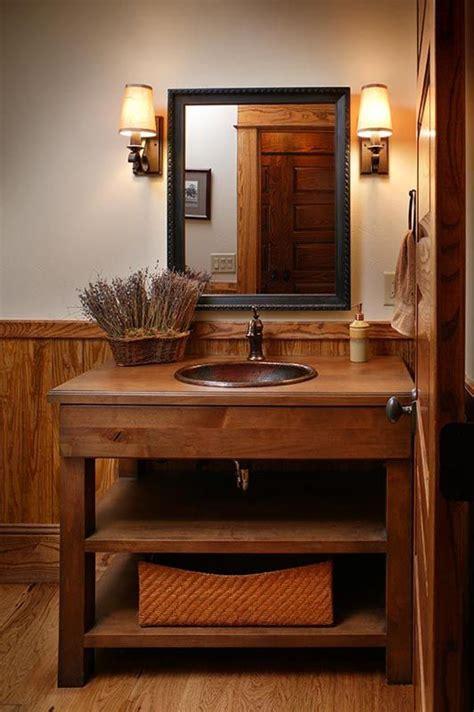 great alder vanity   copper sink rustic