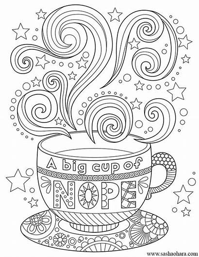 Coloring Pages Coffee Tea Cup Adult Nope