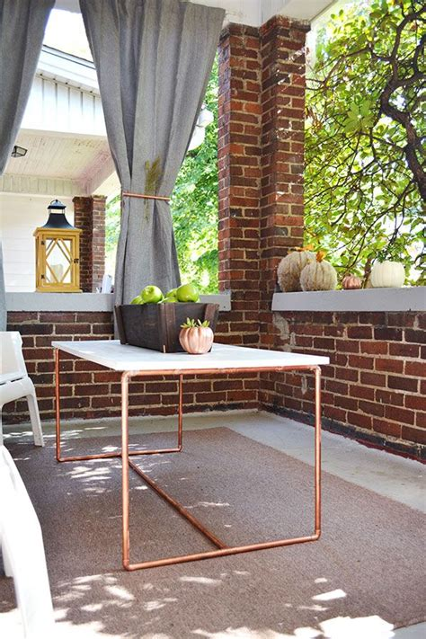 Front Porch Table by Front Porch Fall Decorations And A Copper Pipe Table Diy