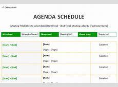Agenda Schedule Template Dotxes