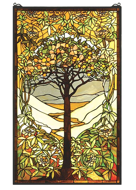 tiffany stained glass l meyda 66668 tiffany tree of life stained glass window