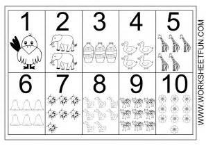 Printable Number Worksheets Picture Number Chart 1 10 Free Printable Worksheets Worksheetfun