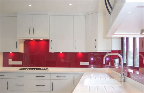 White Kitchen Red Backsplash  Kitchen Fitted With An