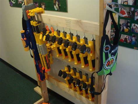nerf storage gun guns wall glue organization darts wood bucket fun