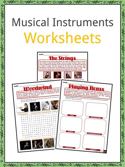 musical instruments facts worksheets characteristics