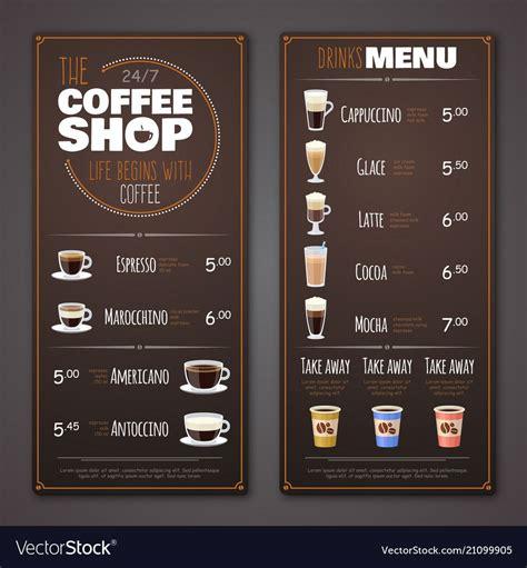 Restaurant menu design crello【menu maker】create your own menu free no design skills make cool menu in a few clicks! Coffee shop menu design template vector image on | Poster minuman