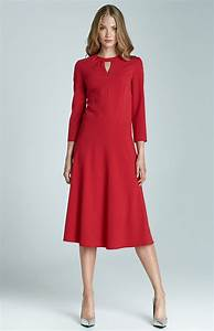 red 3 4 sleeves flared cocktail dress nis68r With robe fluide blanche