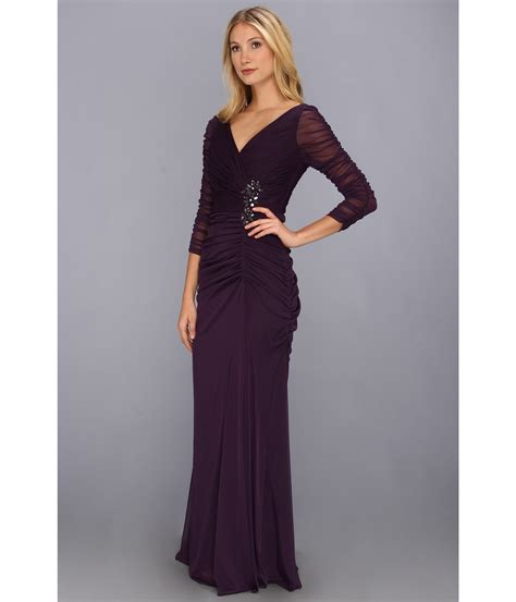papell draped gown papell drape covered gown in purple aubergine