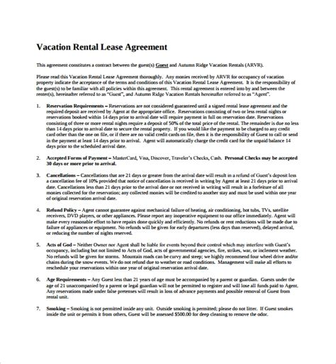 sample vacation rental agreement templates