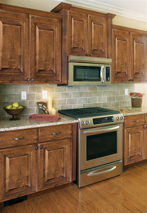 Painted Kitchen Cabinet Color Ideas - mocha distressed heritage classic cabinets
