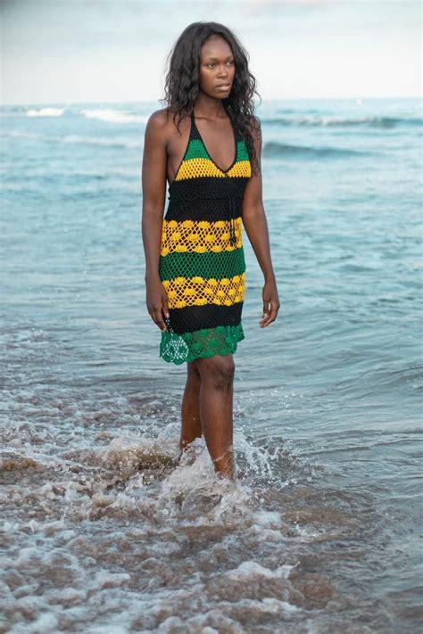 Handmade Crochet Dress 02 Jamaican Colors Etsy In 2020