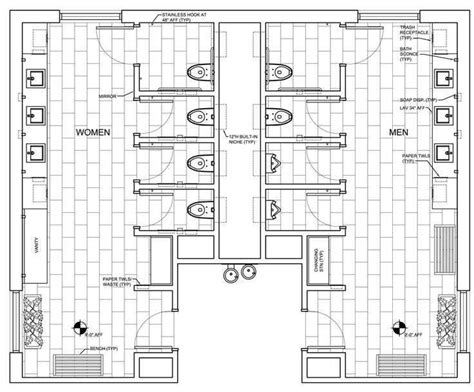 commercial  bathroom floor plans public restroom design