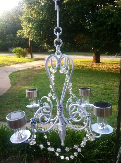 how to make outdoor solar lights my homemade outdoor glitzy solar chandelier cut off stems