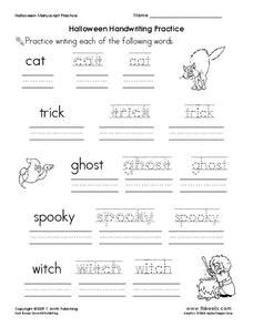 halloween handwriting practice worksheet  pre  st