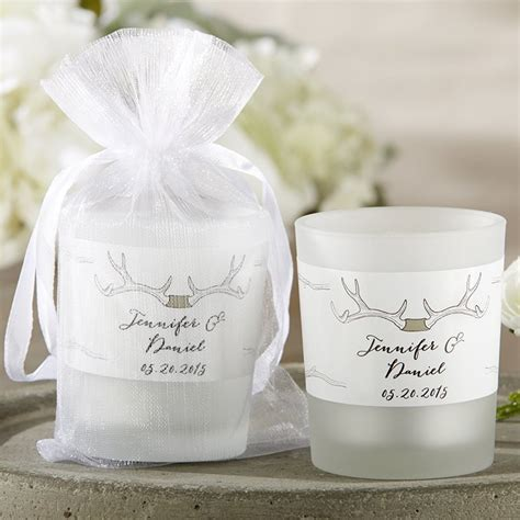 Personalized Frosted Glass Votive Wedding Candle Favors