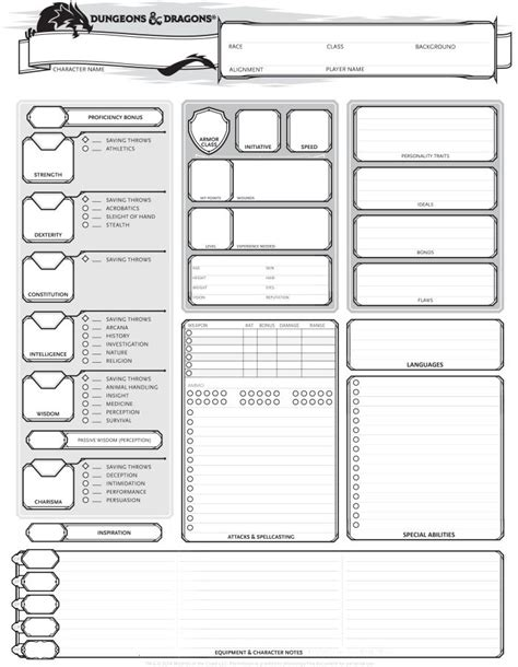 dungeons dragons 5th edition character sheet rpg