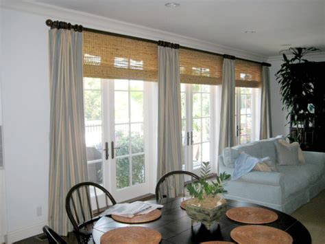 contemporary linen drapes with bamboo shades