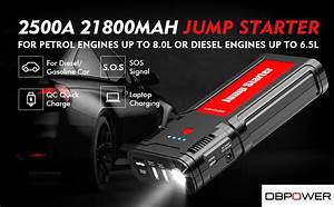 Dbpower 2500a 21800mah Portable Car Jump Starter For Up To