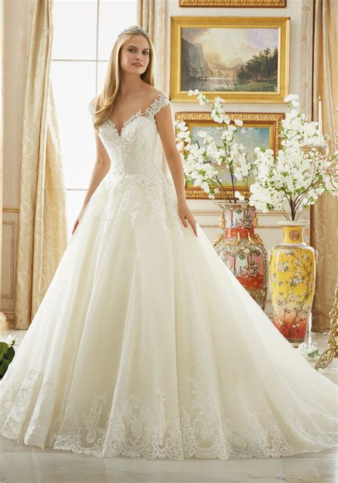morilee wedding dress beading on alencon lace with scalloped hemline style