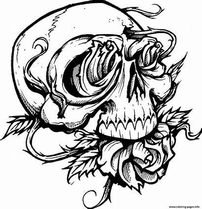 Coloring Skull Roses Sugar Pages Printable