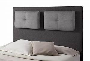 Tete De Lit 120 : tete de lit avec coussin mirko 2 gris anthracite gris perle l 140 x h 120 x p 18 ~ Teatrodelosmanantiales.com Idées de Décoration