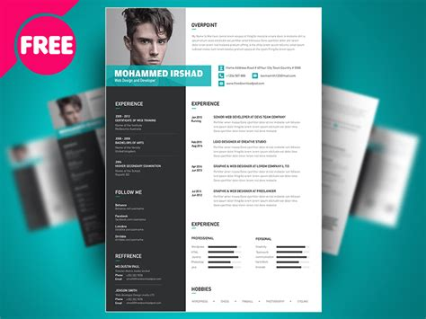 free psd resume cv template design by free psd on
