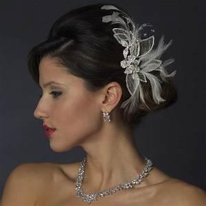 Silver White Feather Crystal Rhinestone Bridal Hair