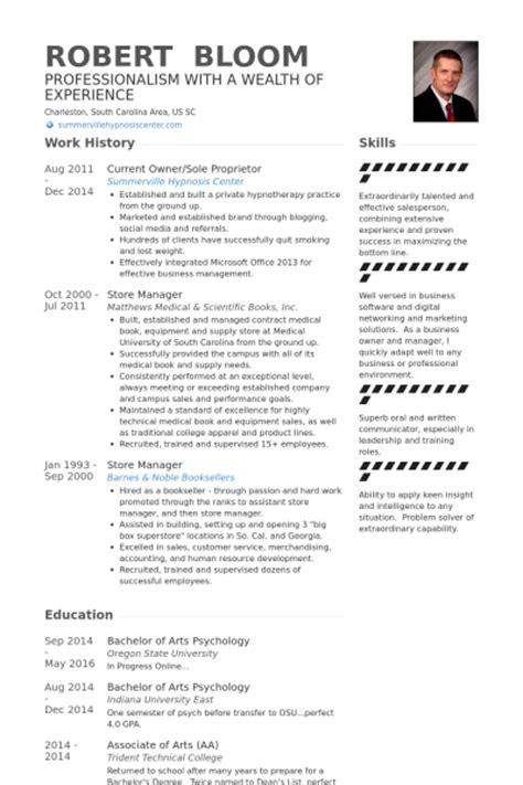 Sle Business Owner Resume by Sole Proprietor Resume Sles Visualcv Resume Sles Database