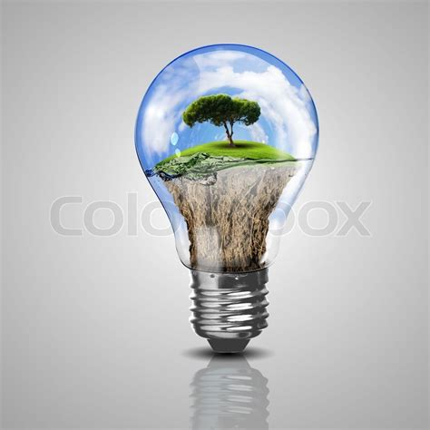 electric light bulb and a plant inside it as symbol of