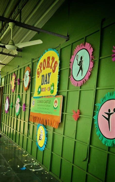 sports day decoration stage backdrop ideas  school