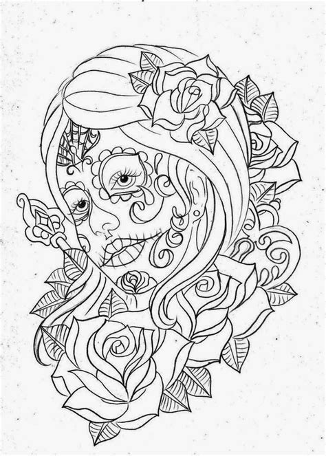 Girl face day of the dead with roses tattoo stencil 10 (click for | Projects to Try | Skull