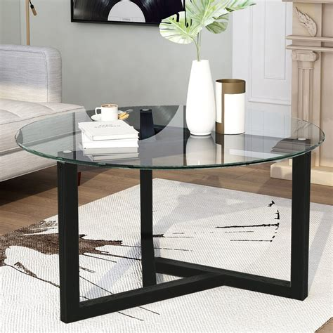 2021 new glass coffee table, 35.4 round coffee table with sturdy wood base, modern cocktail table with tempered glass top, round center table sofa table for living room, easy assembly sturdy glass coffee table with wood frame urhomepro round coffee table features a. Ebern Designs Round Glass Coffee Table Modern Cocktail ...