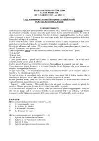 test ingresso grammatica prima media grammatica test ingresso 2a istituto tecnico docsity