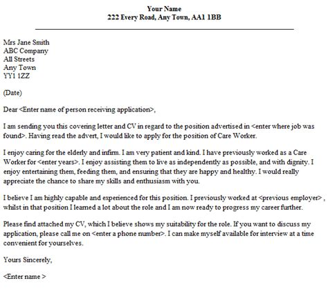 The purpose of this document is to demonstrate that you have the necessary skills (and some. Care Worker Cover Letter Sample - lettercv.com