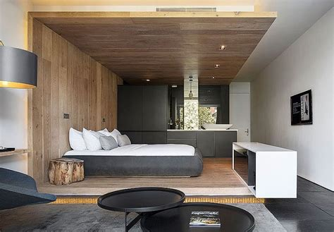 déco de chambre moderne avec meubles et surfaces en bois