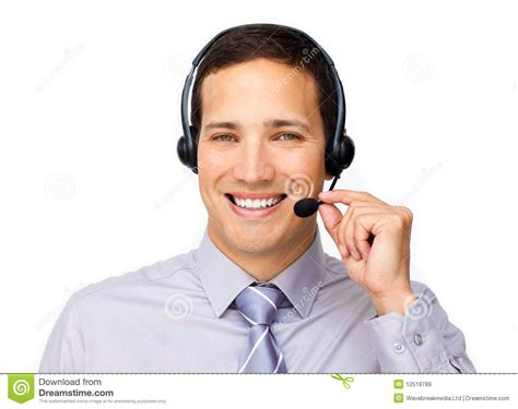 Confident Customer Service Agent Using Headset Royalty