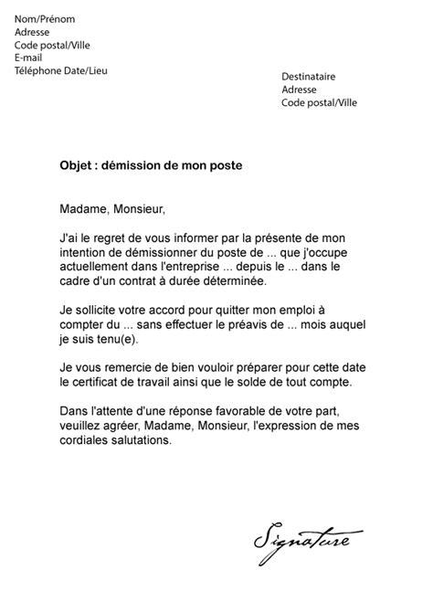 modele de lettre de demission cdd lettre de d 233 mission cdd sans pr 233 avis mod 232 le de lettre